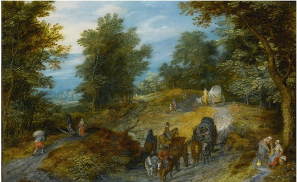 Lot 27. Jan Brueghel the Elder BRUSSELS 1568 - 1625 ANTWERP WOODLAND ROAD WITH WAGON AND TRAVELERS signed and dated lower left: BRVEGHE[L]/160(9?) oil on copper, mounted on panel 3 5/8  by 5 7/8  in.; 9.2 by 14.9 cm. Estimate: $500,000-700,000. Click on image to enlarge.