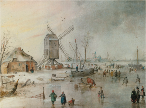 Lot 6. Hendrick Avercamp AMSTERDAM 1585 - 1634 KAMPEN A WINTER SCENE WITH A WINDMILL AND FIGURES ON A FROZEN RIVER signed with the monogram lower left:  HA (in ligature) oil on panel 9 1/4 by 12 1/4 in.; 23.5 by 31.2 cm. Estimate: $1-1.5 million Click on image to enlarge.