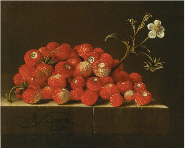 Lot 67. Adriaen Coorte MIDDELBURG (?) 1660 (?) - AFTER 1707 WILD STRAWBERRIES ON A LEDGE signed and dated lower left: A Coorte/1704 oil on paper, laid down on panel 5 3/8  by 6 1/2 in.; 13.5 by 16.5 cm. Estimate: $800,000-1,200,000. Click on image to enlarge.