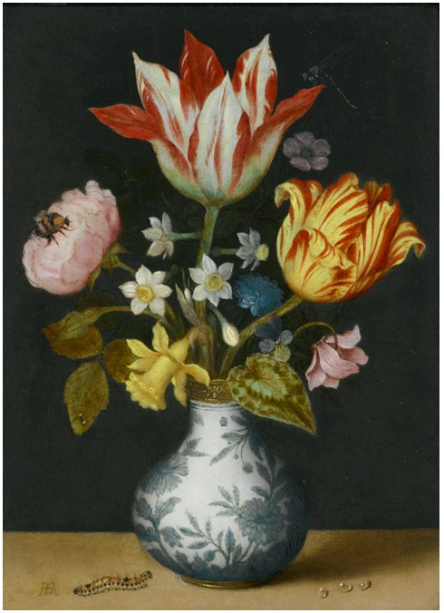 Lot 71. Ambrosius Bosschaert the Elder ANTWERP 1573 - 1621 THE HAGUE STILL LIFE OF FLOWERS IN A WAN-LI VASE, INCLUDING TULIPS, NARCISSI, A SWEET-BRIAR, LIVER-LEAF, CYCLAMEN, WILD PANSY AND A ROSE, WITH A DRAGONFLY, BUMBLEBEE AND CATERPILLAR signed on the ledge, lower left corner: AB (in ligature) oil on copper 6 1/4  by 4 1/2  in.; 15.6 by 11.3 cm. Estimate: $800,000-1,200.000.