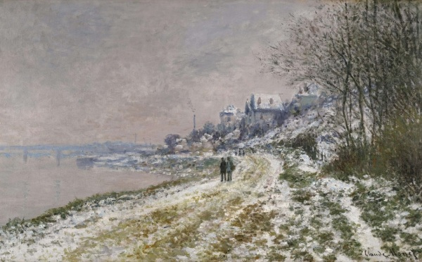 Lot 49. Claude Monet 1840 - 1926 LE CHEMIN D'EPINAY, EFFET DE NEIGE Signed Claude Monet (lower right) Oil on canvas 24 by 39 1/8 in. 61 by 99.5 cm Painted in 1875. Estimate: $6–8 million.  Click on image to enlarge.