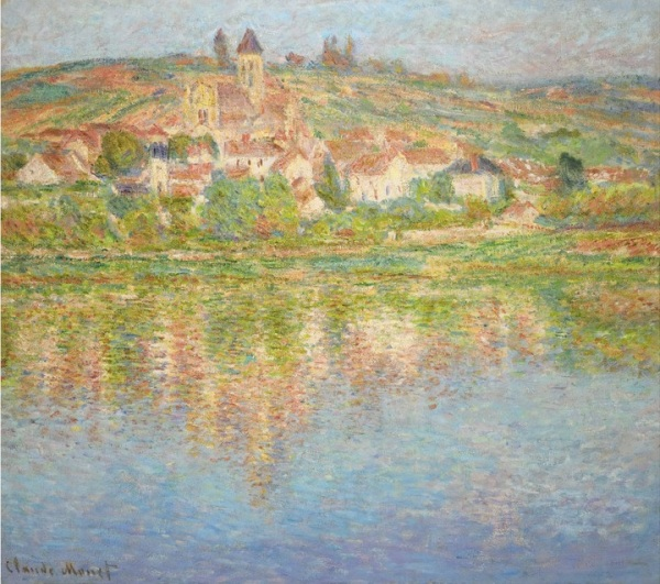 Lot 28. Claude Monet 1840 - 1926 LA SEINE À VÉTHEUIL Signed Claude Monet (lower left) Oil on canvas 32 1/8 by 36 3/8 in. 81.5 by 92.5 cm Painted in 1901. Estimate: $6-8 million. Click on image to enlarge.