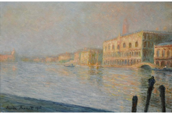 Lot 40. Claude Monet 1840 - 1926 LE PALAIS DUCAL Signed Claude Monet and dated 1908 (lower left) Oil on canvas 22 1/2 by 36 1/4 in. 57 by 92 cm Painted in 1908. Estimate: $15-20 million. Click on image to enlarge.
