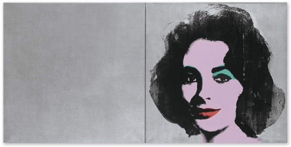 Lot 19a. Andy Warhol (1928-1987) Silver Liz (diptych) signed and dated 'Andy Warhol 65' (on the overlap of the left panel) spray enamel, synthetic polymer and silkscreen inks on canvas diptych - 40 x 80 in. (101.6 x 203.2 cm.) Painted in 1963-1965. Estimate: $25-35 million. Click on image to enlarge.