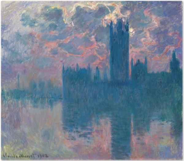 Lot 24a. Claude Monet (1840-1926) Le Parlement, soleil couchant (The Houses of Parliament, at Sunset) signed and dated 'Claude Monet 1902' (lower left) oil on canvas 32 x 36 5/8 in. (81.3 x 93 cm.) Painted in 1900-1901. Estimate: $35-45 million.