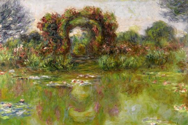 Lot 47. Claude Monet 1840 - 1926 BASSIN AUX NYMPHÉAS, LES ROSIERS Signed Claude Monet and dated 1913 (lower left) Oil on canvas 28 3/4 by 39 3/8 in. 73 by 100 cm Painted in 1913. Estimate: $18-25 million. Click on image to enlarge.