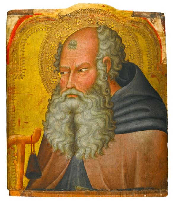 Lot 305. Bartolo di Fredi SIENA 1330 (?) - 1410 SAINT ANTHONY ABBOT tempera on panel, gold ground, a fragment 38.5 by 33 cm.; 15 1/8  by 13 in. Estimate: 40,000-60,000.