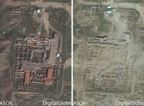 Satellite imagery from March 7, 2015 and April 17 shows the progression of damage to the Northwest Palace at Nimrud in Iraq.
