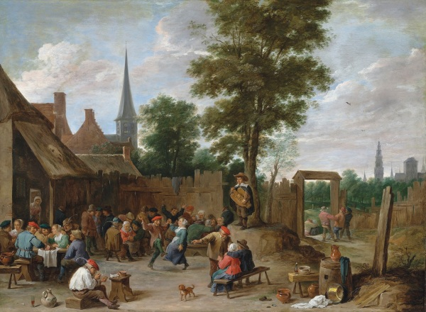David Teniers the Younger (1610-1690) A village inn with peasants dancing and merry making to the music of a hurdy-gurdy signed 'DAVID. TENIERS F' (lower right) oil on copper 22.3/8 x 30.1/2 in. (56.9 x 77.5 cm.) Estimate: £1,200,000 – £1,800,000. Click in image to enlarge.