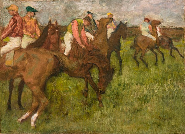 Edgar Degas, Jockeys avant course, 26.1 x 38.5 cm. Click on image to enlarge.