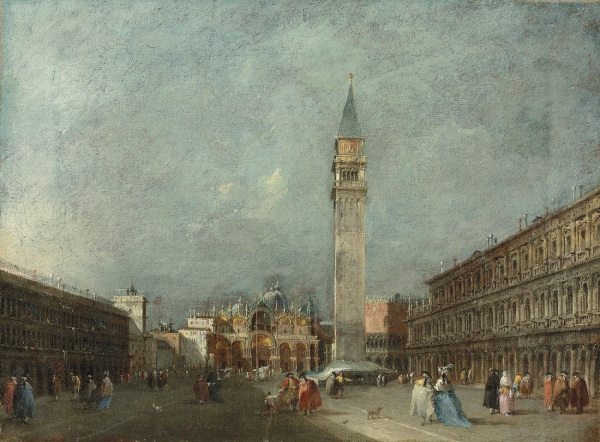 Francesco Guardi (1712-1793) A pair of Venetian views - the first: The Piazza San Marco looking towards the Basilica. Estimate for the pair: £300,000-500,000. Click on image to enlarge.