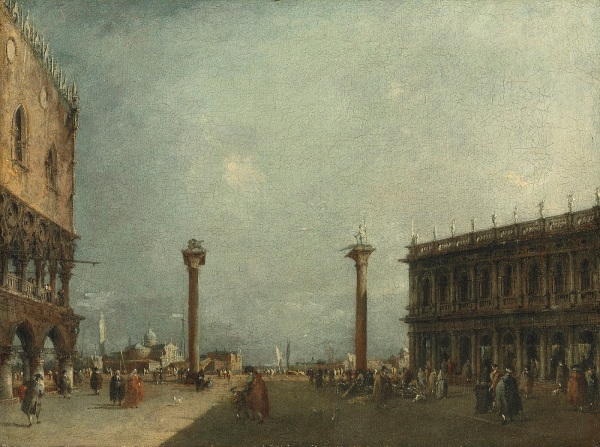 Francesco Guardi (1712-1793) A pair of Venetian views - the second: The Piazzetta, flanked by two of the great secular buildings of the city the medieval Doges' Palace on the left and Sansovino's Libreria on the right. Estimate for the pair: £300,000-500,000. Click on image to enlarge.