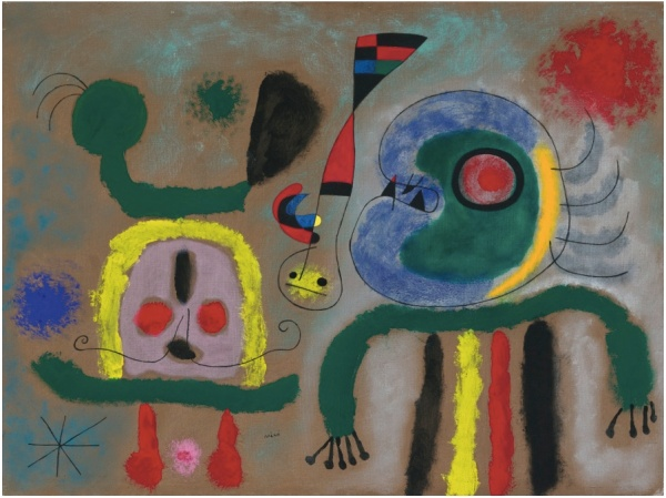 Lot 10. Joan Miró 1893 - 1983 L'OISEAU ENCERCLANT D'OR ÉTINCELANT LA PENSÉE DU POÈTE Signed Miró (lower center); signed Miró and titled and dated 1951 on the reverse Oil on canvas 23 5/8 by 31 7/8 in. 60 by 81 cm Painted in 1951.  Estimate: $6-9 million. Click on image to enlarge.