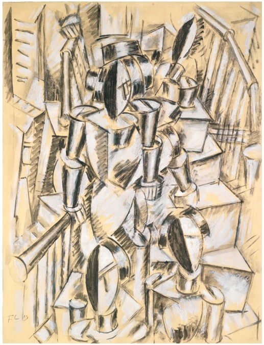 Lot 24. Fernand Léger 1881 - 1955 FIGURES DESCENDANT UN ESCALIER Signed F.L. and dated 13 (lower left) Gouache and brush and ink on paper 19 3/4 by 15 in. 50.3 by 38 cm Executed in 1913. Estimate: $3.5-4.5 million.