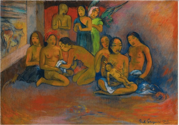 Lot 33. Paul Gauguin 1848 - 1903 NATIVITÉ Signed Paul Gauguin and dated 1902 (lower right) Oil on canvas 17 3/8 by 24 5/8 in. 44.1 by 62.5 cm Painted in 1902. Estimate: $4-6 million. Click on image to enlarge.