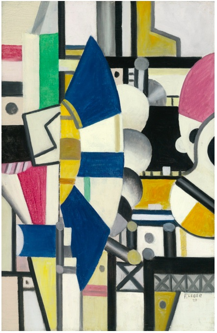 Lot 8. Fernand Léger 1881 - 1955 LA ROUE BLEUE, ÉTAT DÉFINITIF Signed F. Léger and dated 20 (lower right); signed F. Léger, titled and dated 20 on the reverse Oil on canvas 36 1/8 by 23 1/2 in. 92 by 60 cm Painted in 1920.  Estimate: $8-12 million.