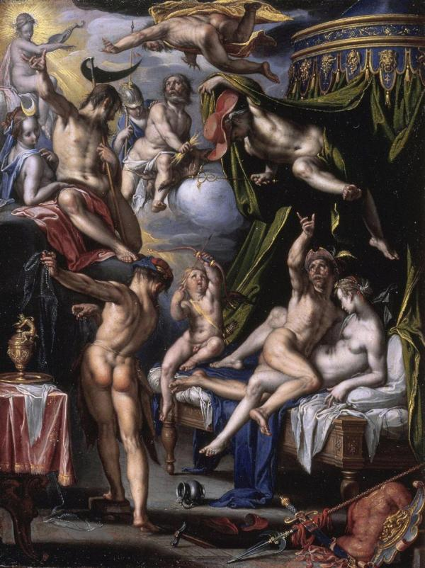 Joachim Wtewael, Mars and Venus Surprised by Vulcan, 1601 Oil on copper: 20.8 x 15.7 cm Royal Picture Gallery Mauritshuis