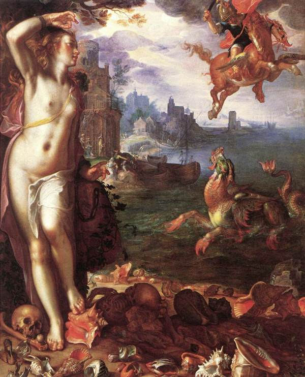 Joachim Anthonisz Wtewael Perseus and Andromeda, 1611 oil on canvas 180 × 150 cm (70 7/8 × 59 1/16 in.) framed: 209 × 178 cm (82 5/16 × 70 1/16 in.) Musée du Louvre, Paris, Département des Peintures, Gift of the Société des Amis du Louvre, 1982 Click on image to enlarge.