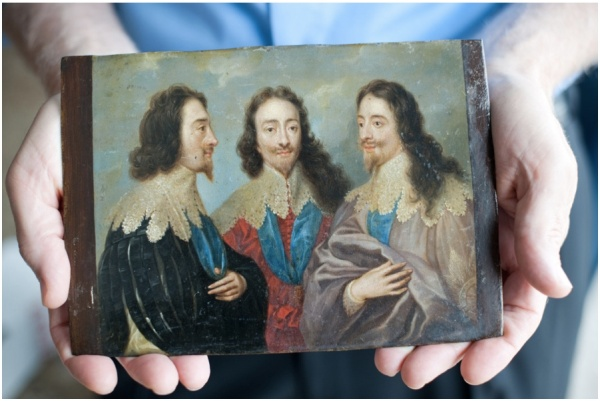 A portrait of England's King Charles I in Three Positions, a piece taken from Germany by Americans. Credit Brandon Thibodeaux for The New York Times. Click on image to enlarge.