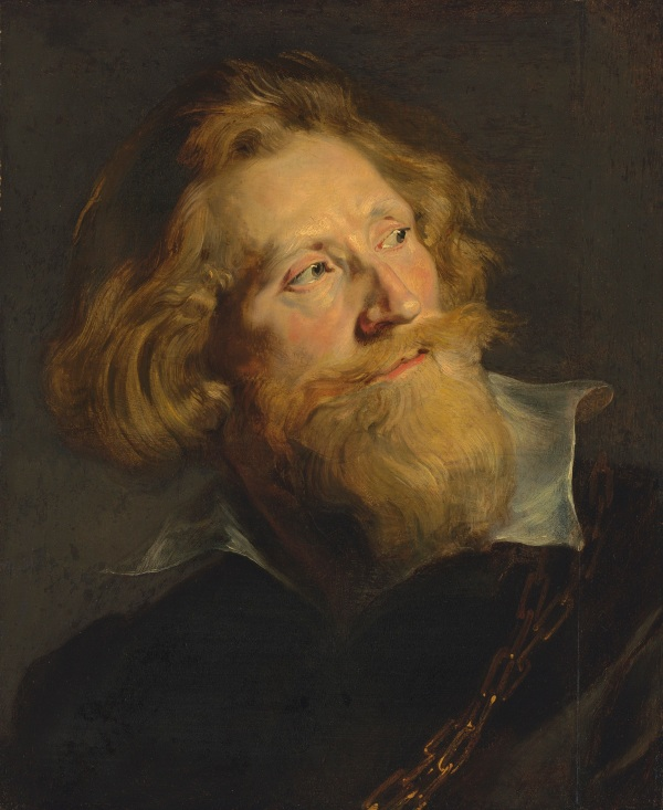 Sir Peter Paul Rubens (1577-1640) Portrait of a bearded man, in three-quarter profile, bust-length, with a white collar and gold chains oil on oak panel, unframed 20.1/8 x 16.1/4 in. (50.9 x 41.2 cm.) Estimate: £2,000,000 - £3,000,000. Click on image to enlarge.