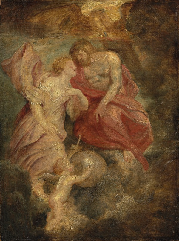 Sir Peter Paul Rubens (1577-1640) Venus and Jupiter oil on oak panel, unframed 20 x 14.3/4 in. (50.8 x 37.5 cm.), including a 5 cm. addition on the left Estimate: £1,200,000 - £1,800,000. Click on image to enlarge.