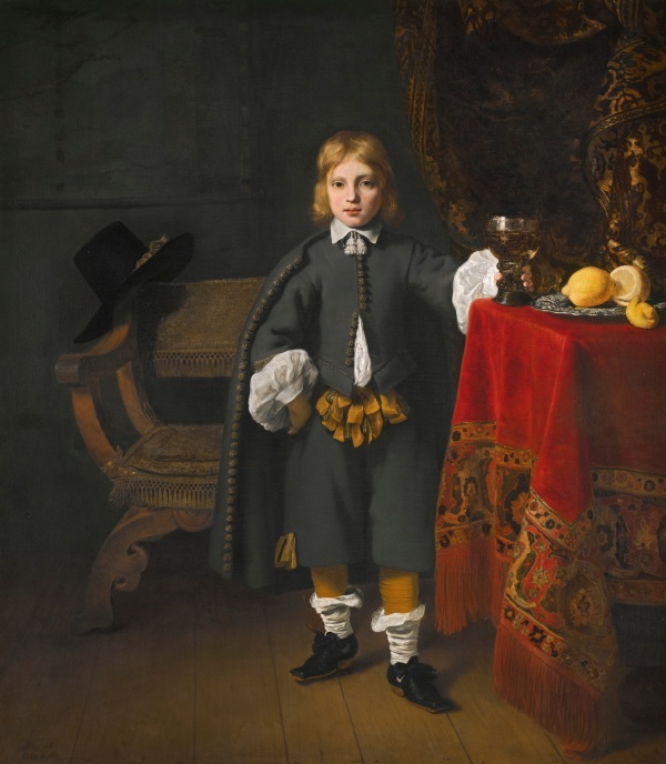 Lot 11. Ferdinand Bol DORDRECHT 1616 - 1680 AMSTERDAM PORTRAIT OF A BOY, SAID TO BE THE ARTIST'S SON, AGED 8 signed and dated lower left: bol.1652. and inscribed: ætatis 8. sua oil on canvas 170 by 150 cm.; 67 by 59 in. Estimate: 2-3 million. Click in image to enlarge.