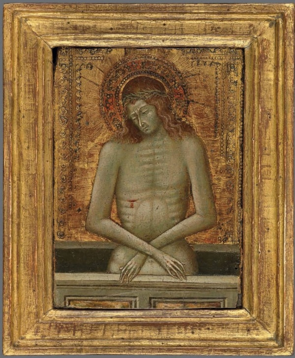 Lot 1. Giovanni di Paolo (Siena c. 1399-1482) Christ as the Man of Sorrows on gold ground panel 5 ¾ x 4 1/8 in. (14.6 x 10.5 cm.) Estimate: £60,000-80,000 ($94,440 - $125,920). Click on image to enlarge.
