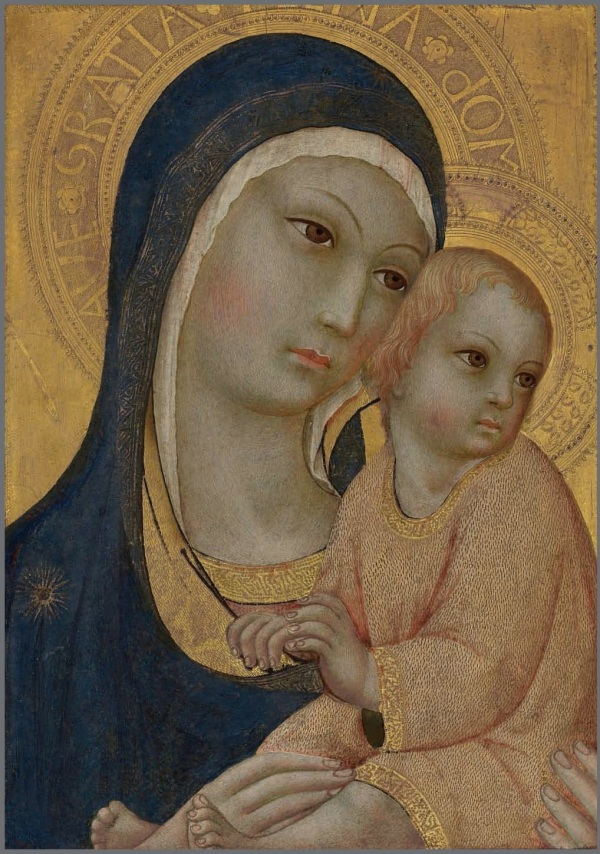 Lot 2. Sano di Pietro (Siena 1405-1481) The Madonna and Child inscribed 'AVE·GRATIA·..A·dOM' (on the Madonna's halo) on gold ground panel 16 ¼ x 11 5/8 in. (41.2 x 29.6 cm.) Estimate: £150,000 – £250,000 ($236,100 - $393,500) Click on image to enlarge.