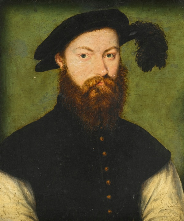Lot 3. Corneille de Lyon THE HAGUE 1500/10 - 1575 LYON PORTRAIT OF A GENTLEMAN, PRESUMED TO BE RENÉ DE BATARNAY, COMTE DU BOUCHAGE oil on panel 17.4 by 14.4 cm.; 6 7/8  by 5 5/8  in. Estimate: 120,000-180,000.