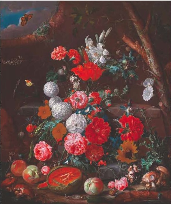 Cornelis De Heem, A Still Life of Flowers and Fruit arranged on a Stone Plinth in a Garden, 1686-89.