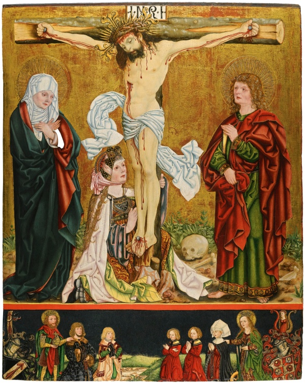 Lot 35. Nüremburg Master circa 1518 AN EPITAPH FOR KATHARINA HELD OF NUREMBURG: THE CRUCIFIXION WITH THE DONOR SIGMUND HELD AND HIS FAMILY BELOW oil and gold on panel 120.5 by 97 cm.; 47 3/8  by 38 1/4  in. Estimate: 250,000-350,000. Click on image to enlarge.