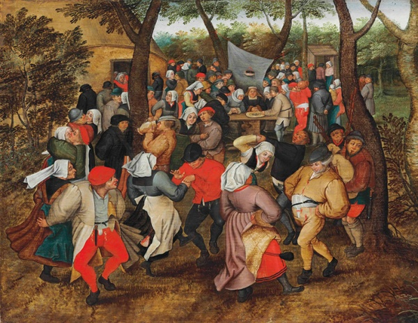 Lot 41. Pieter Brueghel II (Brussels 1564/5-1637/8 Antwerp) The Outdoor Wedding Dance signed and dated '·P· BREUGHEL · 1621' (lower left) oil on oak panel, stamped on the reverse with the coat-of-arms of the City of Antwerp and the clover leaf panel-maker's mark of Michiel Claessens (active Antwerp 1590-1637) 16 x 20½ in. (40.5 x 52 cm.) Estimate: £1,200,000 – £1,800,000 ($1,888,800 - $2,833,200)