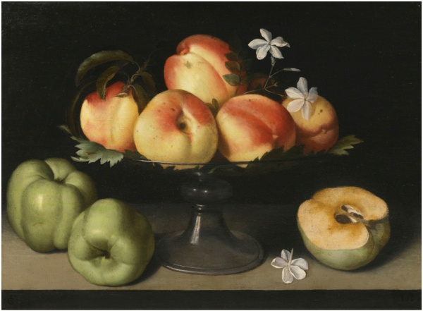 Lot 29. Fede Galizia MILAN 1578 - 1630 A CRYSTAL FRUIT STAND WITH PEACHES, QUINCES, AND JASMINE FLOWERS signed with monogram lower left: · FG · and dated lower right: 1607 oil on poplar panel 31.2 by 42.5 cm.; 12 1/4  by 16 3/4  in. Estimate: 1.2-1.8 MILLION. CLICK ON IMAGE TO ENLARGE.