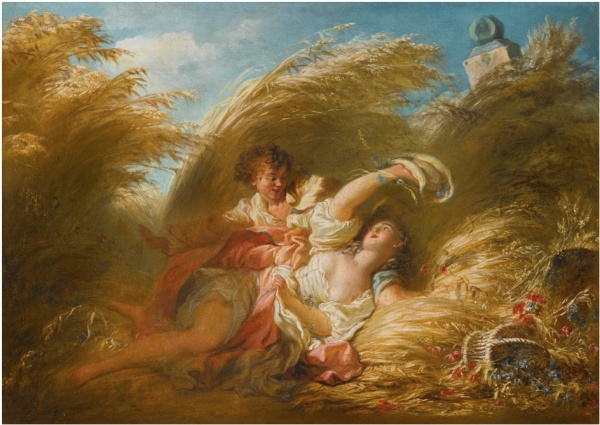 Lot 19. Jean-Honoré Fragonard GRASSE 1732 - 1806 PARIS DANS LES BLÉS Inscribed on the stretcher: ce Tableau peint par Fragonard était comprit / dans le Legs laisse par Mr De Marsollier à son ami Sewrin oil on canvas 33.3 by 45.7 cm.; 13 1/8  by 17 7/8  in. Estimate: 2-3 million. Click on image to enlarge.