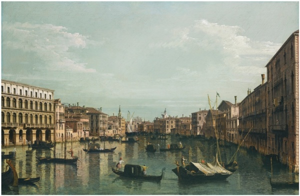 Lot 21. Bernardo Bellotto VENICE 1722 - 1780 WARSAW VENICE, A VIEW OF THE GRAND CANAL LOOKING SOUTH FROM THE PALAZZO FOSCARI AND PALAZZO MORO-LIN TOWARDS THE CHURCH OF SANTA MARIA DELLA CARITÀ, WITH NUMEROUS GONDOLAS AND BARGES oil on canvas, in the original carved and gilt wood frame 59.7 by 89.5 cm; 23 1/2  by 35 1/4  in. Estimate: 2.5-3.5 million. Click on image to enlarge.