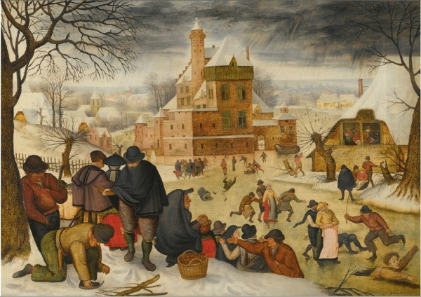 Lot 6. Pieter Brueghel the Younger BRUSSELS 1564 - 1637/8 ANTWERP A WINTER LANDSCAPE WITH SKATERS signed lower right: P · BREVGHEL · oil on oak panel 40 by 57 cm.; 15 3/4  by 22 1/2  in. Estimate: $1-1.5 million. Click on image to enlarge.