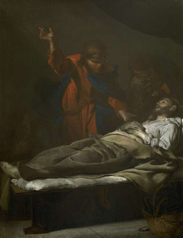 Bernardo Cavallino (Naples 1616 - ca. 1656) The Death of Saint Joseph Oil on canvas, 18 5/16 × 14 3/16 in (46,5 x 36 cm)  Click on image to enlarge.
