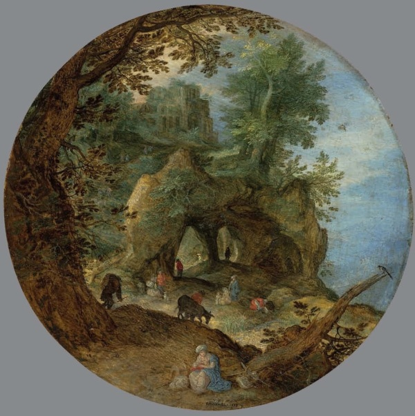 Lot 11. Jan Breughel I (Brussels 1568-1625 Antwerp) A rocky landscape with the Rest on the Flight into Egypt; and A wooded landscape with the Temptation of Christ the former signed and dated '?BRVEGHEL ? 1598 ? ' (lower centre); the latter signed and dated '? BRVEGHEL ? / 1598' (lower right, on the rock) oil on oak panel, circular 8½ (21.6 cm.) diameter one of two Estimate: £500,000-800,000 ($785,000-1,256,000). Click on image to enlarge.
