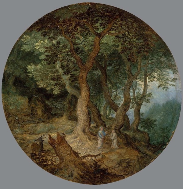 Lot 11. Jan Breughel I (Brussels 1568-1625 Antwerp) A rocky landscape with the Rest on the Flight into Egypt; and A wooded landscape with the Temptation of Christ the former signed and dated '?BRVEGHEL ? 1598 ? ' (lower centre); the latter signed and dated '? BRVEGHEL ? / 1598' (lower right, on the rock) oil on oak panel, circular 8½ (21.6 cm.) diameter two of two Estimate: £500,000-800,000 ($785,000-1,256,000). Click on image to enlarge.