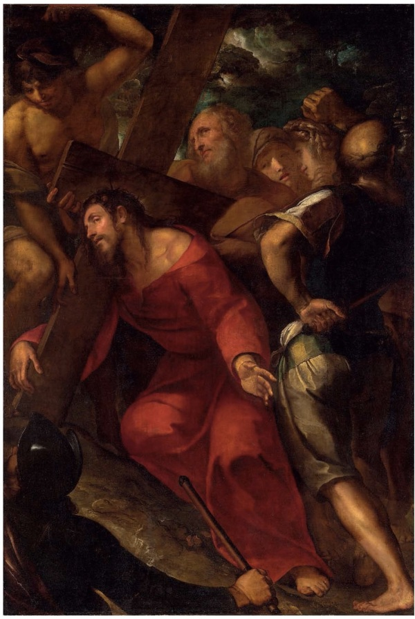 Lot 36. Giulio Cesare Procaccini (Bologna 1574-1625 Milan) Christ carrying the Cross signed with initials 'G. C. P.' (lower right) oil on canvas 85 ½ x 58 1/8 in. (217.2 x 147.5 cm.) Estimate: £300,000 –400,000 ($463,200 - $617,600). Click on image to enlarge.