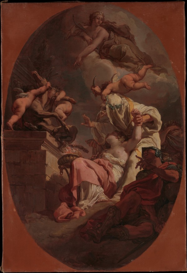 Gaetano Gandolfi (Italian, San Matteo della Decima 1734–1802 Bologna), The Sacrifice of Iphigenia, 1789 - DETAIL Oil on canvas: 26 7/8 × 18 in. (68.3 × 45.7 cm) Rogers Fund, 2015 Accession Number: 2015.46 Click on image to enlarge.