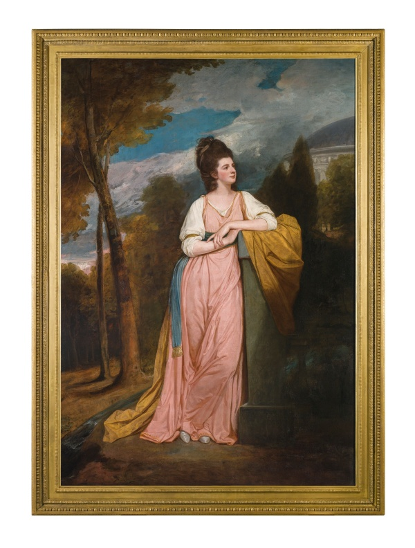 Lot 51. George Romney DALTON 1734 - 1802 KENDAL PORTRAIT OF LADY ELIZABETH CAPELL, LADY MONSON (1755–1834) oil on canvas, held in its original period gilt wood frame  249 by 175.3 cm.; 98 by 69 in. Estimate: £1-1.5 million. Click on image to enlarge.