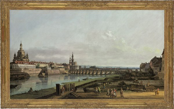 Lot 48. Bernardo Bellotto (Venice 1721-1780 Warsaw) Dresden from the Right Bank of the Elbe above the Augustus Bridge oil on canvas: 37 5/8 x 65 1/8 in. (95.6 x 165.4 cm.) Estimate: £8-12 million ($12,352,000 - $18,528,000). Bidding on this lot stopped at £7.5 million and it failed to sell. Click on image to enlarge.