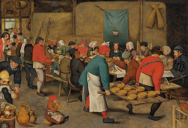 Lot 14. Pieter Brueghel II (Brussels 1564/5-1637 Antwerp) The Wedding Feast oil on oak panel 28 ¼ x 41 ¼ in. (71.8 x 104.7 cm.) Estimate: £1,500,000 – £2,500,000 ($2,334,000 - $3,890,000)