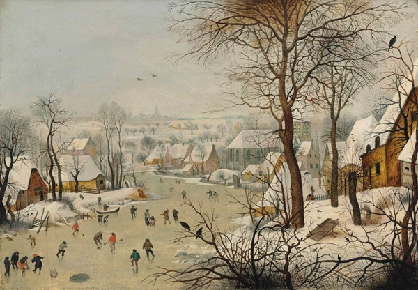 Lot 31. Pieter Brueghel II (Brussels 1564/5-1637/8 Antwerp) The Birdtrap oil on oak panel 15 3/8 x 22 ¼ in. (39 x 56.5 cm.) Estimate: £2-3 million ($3,088,000 - $4,632,000). Click on image to enlarge.