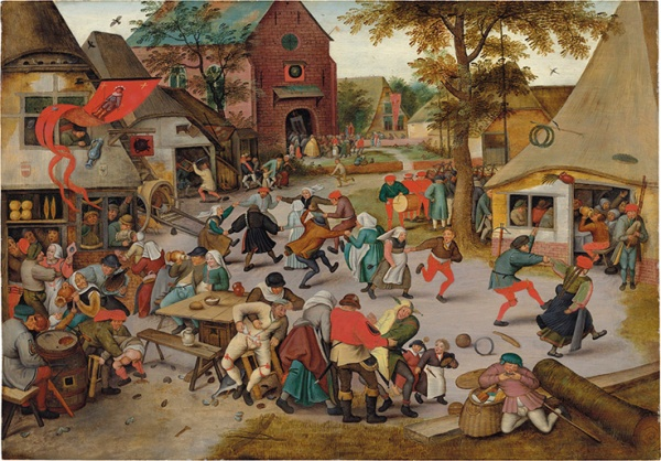 Lot 45. Pieter Brueghel II (Brussels 1564/5-1637/8 Antwerp) The Kermesse of Saint George signed 'P ? BREVGHEL? ' (lower left) oil on oak panel 28 3/8 x 40 5/8 in. (72.1 x 103.2 cm.) Estimate: £2.5-3.5 million ($3,860,000 - $5,404,000). Click on image to enlarge.
