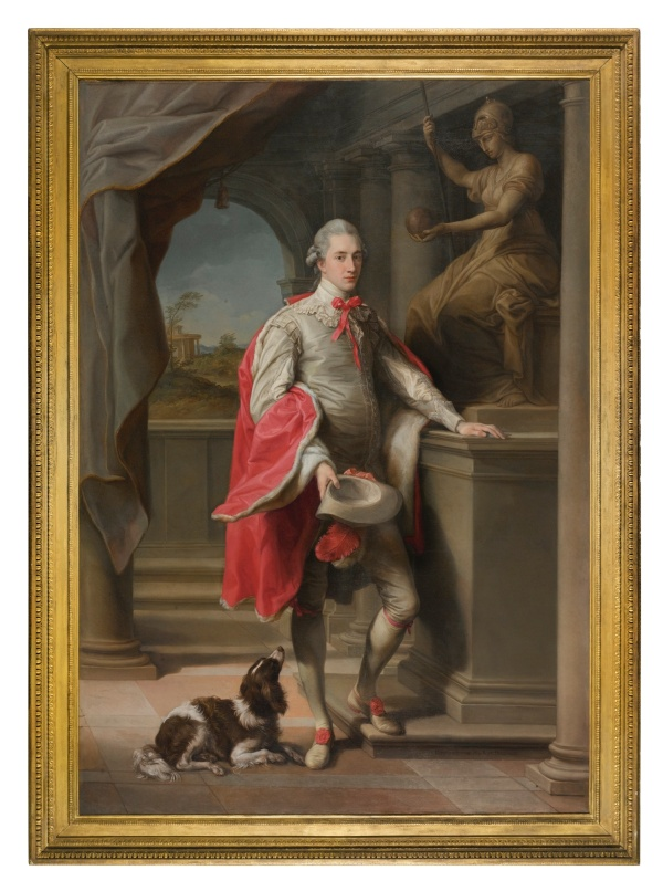 Lot. Pompeo Girolamo Batoni LUCCA 1708 - 1787 ROME PORTRAIT OF JOHN, 3RD BARON MONSON OF BURTON (1753–1806), WITH A STATUE OF ROMA BEHIND AND A SPANIEL AT HIS FEET signed and dated lower right: POMPEO DE BATONI PINX ROMAE MDCCLXXIV oil on canvas, held in its original period gilt wood frame 249 by 175.2 cm.; 98 by 69 in. Estimate: £2-3 million. Click on image to enlarge.