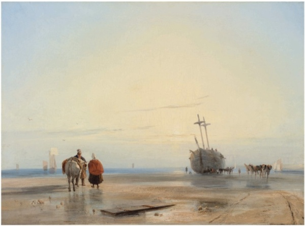 Lot 26. Richard Parkes Bonington (Arnold, Nottinghamshire 1802-1828 London) A coastal landscape with fisherfolk, a beached boat beyond oil on canvas 23 ½ x 32 in. (59.7 x 81.3 cm.) Estimate: £2-3 million ($3,088,000 - $4,632,000).