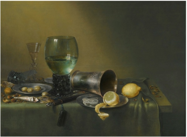 Lot 12. Willem Claesz. Heda HAARLEM CIRCA 1596 - 1680 A STILL LIFE OF A ROEMER, AN OVERTURNED ROEMER, A FAÇON-DE-VENISE WINEGLASS, A SILVER BEAKER AND A SILVER AND PEWTER PLATE, WITH A SHEATHED KNIFE, LEMONS, OLIVES, HAZELNUTS, WALNUTS AND A PAPER TWIST OF TOBACCO, ALL ON A TABLE PARTLY DRAPED WITH A GREEN CLOTH signed and dated lower right on the table-edge: .HEDA. / .1633. oil on oak panel 59 by 80 cm.; 23 1/4  by 31 1/2  in. Estimate: 2-3 million. Click on image to enlarge.