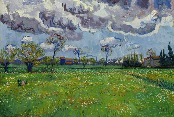 Van Gogh's Paysage sous un ciel mouvementé (1889)